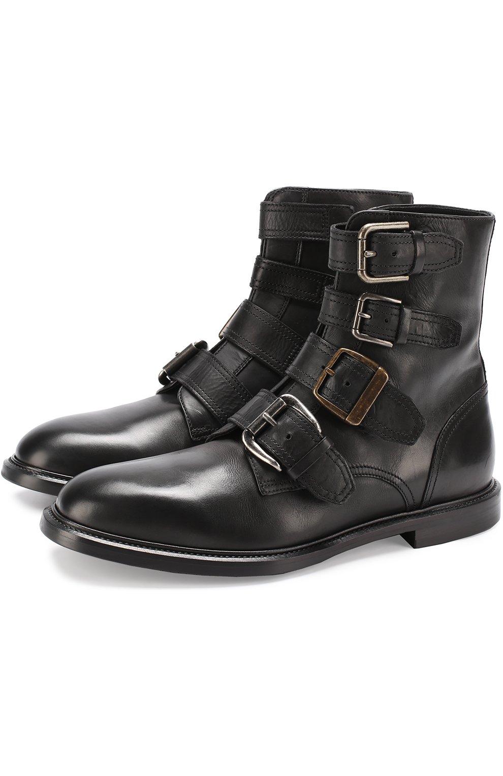 Кожаные ботинки Marsala с ремешками | Фото №1