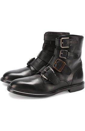 Кожаные ботинки Marsala с ремешками Dolce & Gabbana черные | Фото №1