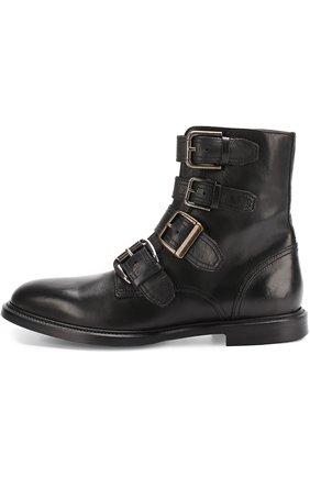 Кожаные ботинки Marsala с ремешками Dolce & Gabbana черные | Фото №3