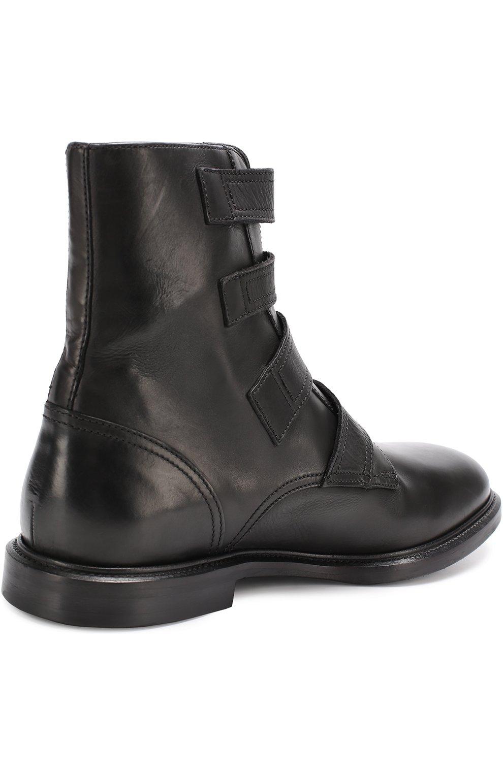 Кожаные ботинки Marsala с ремешками Dolce & Gabbana черные | Фото №4
