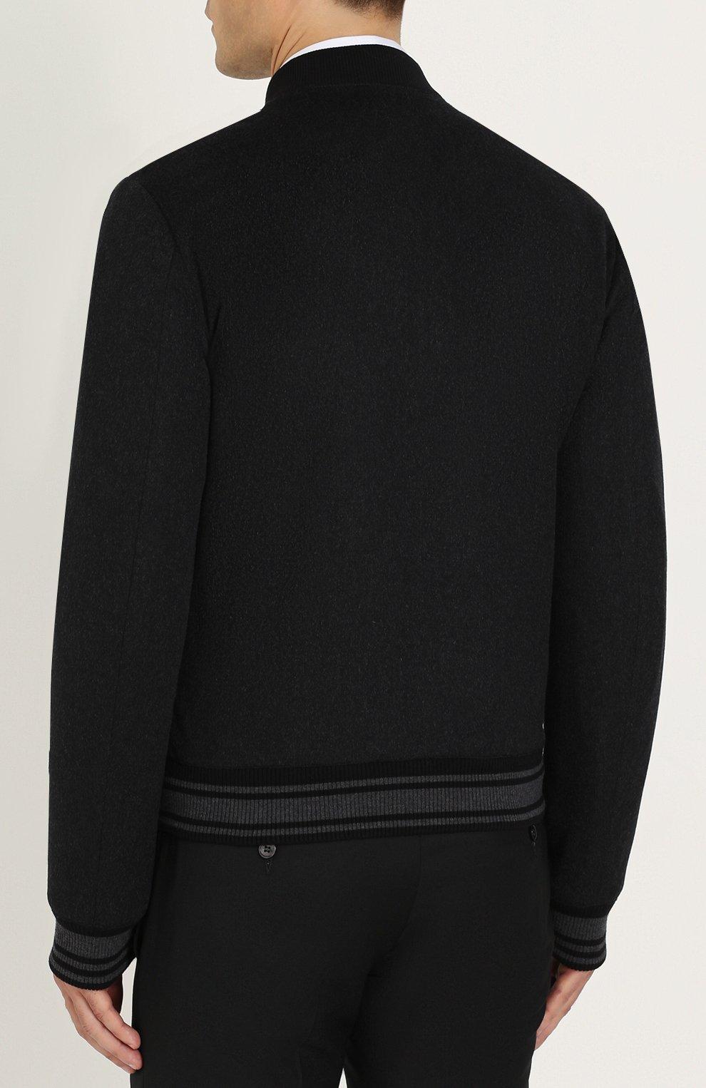 Бомбер из смеси кашемира и шерсти на молнии Dolce & Gabbana серая | Фото №4