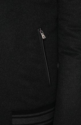 Бомбер из смеси кашемира и шерсти на молнии Dolce & Gabbana серая | Фото №5