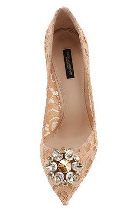 Женские текстильные туфли rainbow lace DOLCE & GABBANA бежевого цвета, арт. 0112/CD0101/AL198 | Фото 5