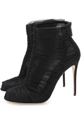 Полупрозрачные ботильоны на шпильке Dolce & Gabbana черные | Фото №1