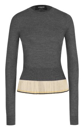 Шерстяной пуловер с шелковой плиссированной оборкой | Фото №1