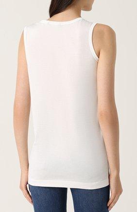 Удлиненный хлопковый топ с принтом Dolce & Gabbana белый   Фото №4
