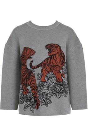 Шерстяной пуловер с укороченным рукавом Tak.Ori светло-серый | Фото №1