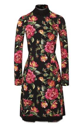 Приталенное мини-платье с цветочным принтом Dolce & Gabbana черное | Фото №1
