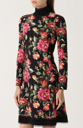Приталенное мини-платье с цветочным принтом Dolce & Gabbana черное | Фото №3