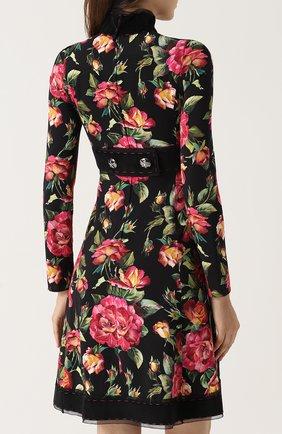 Приталенное мини-платье с цветочным принтом Dolce & Gabbana черное | Фото №4