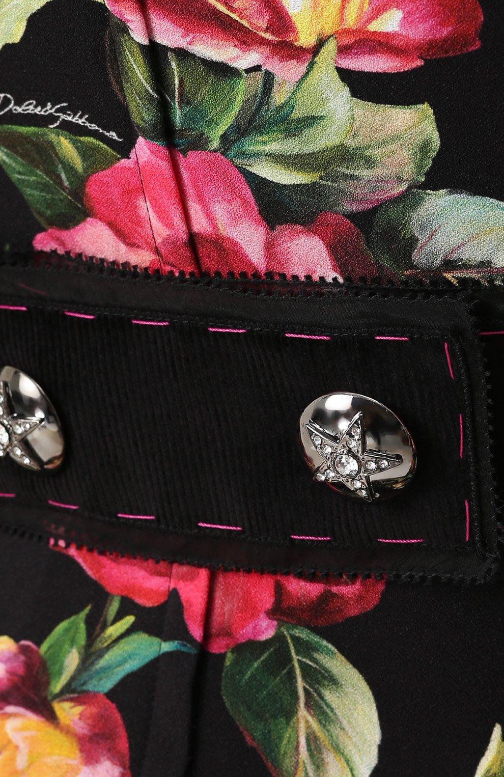 Приталенное мини-платье с цветочным принтом Dolce & Gabbana черное | Фото №5