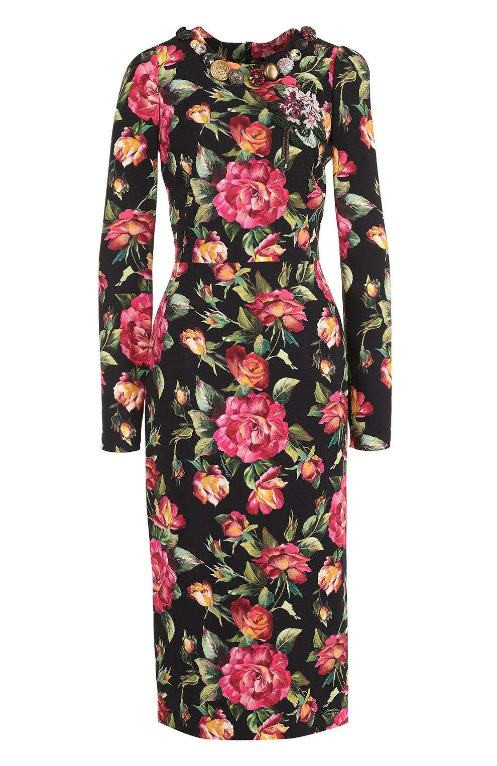 Приталенное платье-миди с длинным рукавом и принтом | Фото №1