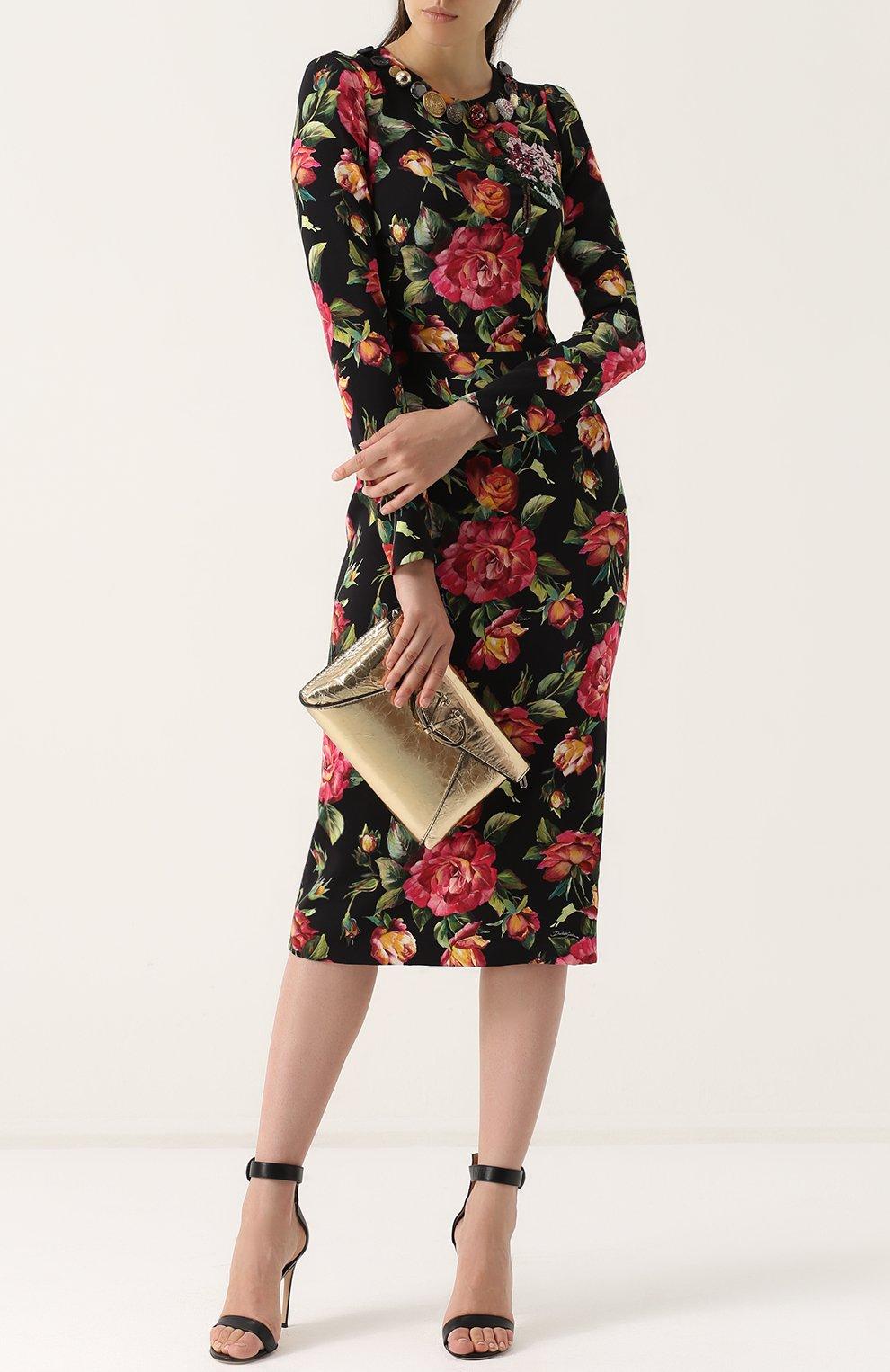 Приталенное платье-миди с длинным рукавом и принтом Dolce & Gabbana разноцветное | Фото №2