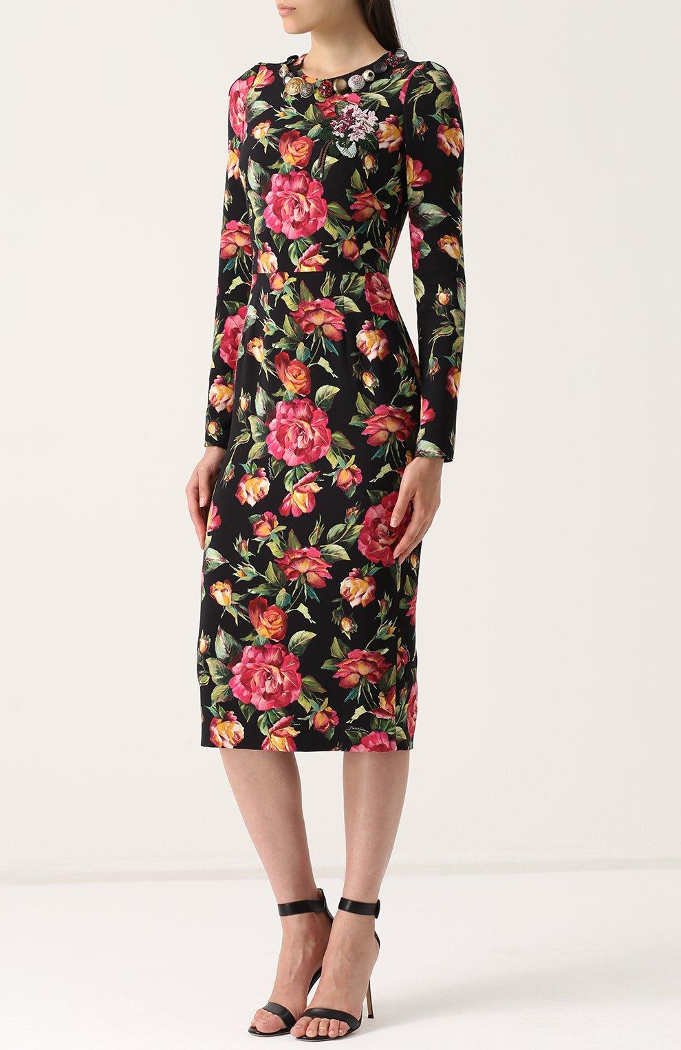Приталенное платье-миди с длинным рукавом и принтом Dolce & Gabbana разноцветное | Фото №3