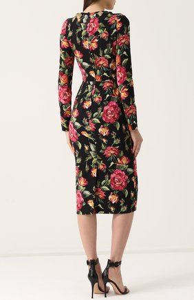 Приталенное платье-миди с длинным рукавом и принтом Dolce & Gabbana разноцветное | Фото №4