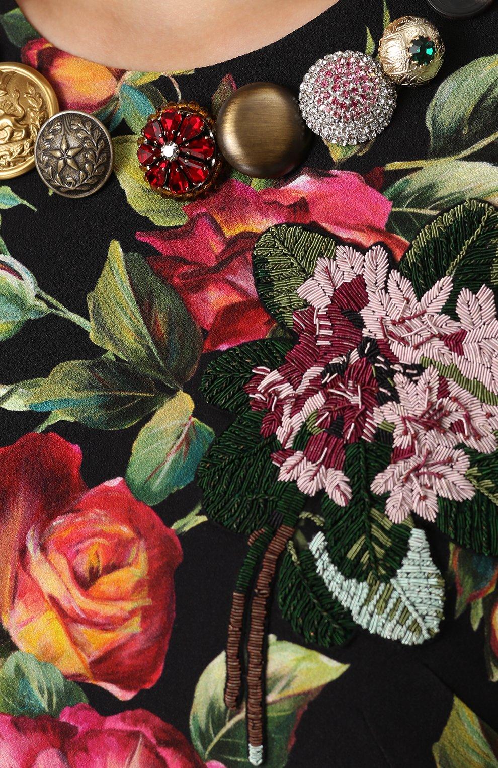 Приталенное платье-миди с длинным рукавом и принтом Dolce & Gabbana разноцветное | Фото №5