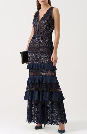 Приталенное кружевное платье-макси Tadashi Shoji темно-синее | Фото №1