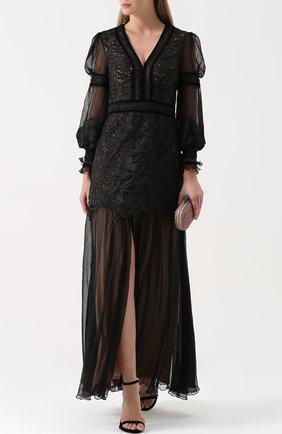 Приталенное платье-макси с V-образным вырезом Tadashi Shoji черное | Фото №1