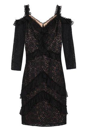 Кружевное облегающее платье с открытыми плечами | Фото №1