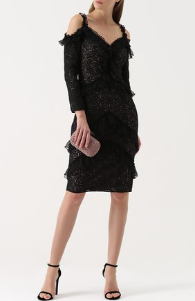 Кружевное облегающее платье с открытыми плечами Tadashi Shoji черное | Фото №1