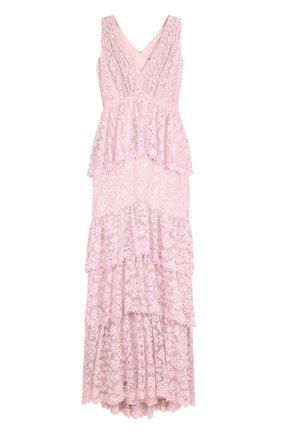 Кружевное платье-макси с оборками Tadashi Shoji светло-розовое | Фото №1