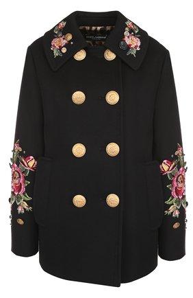 Укороченная пальто с контрастными пуговицами и вышивкой Dolce & Gabbana черного цвета | Фото №1