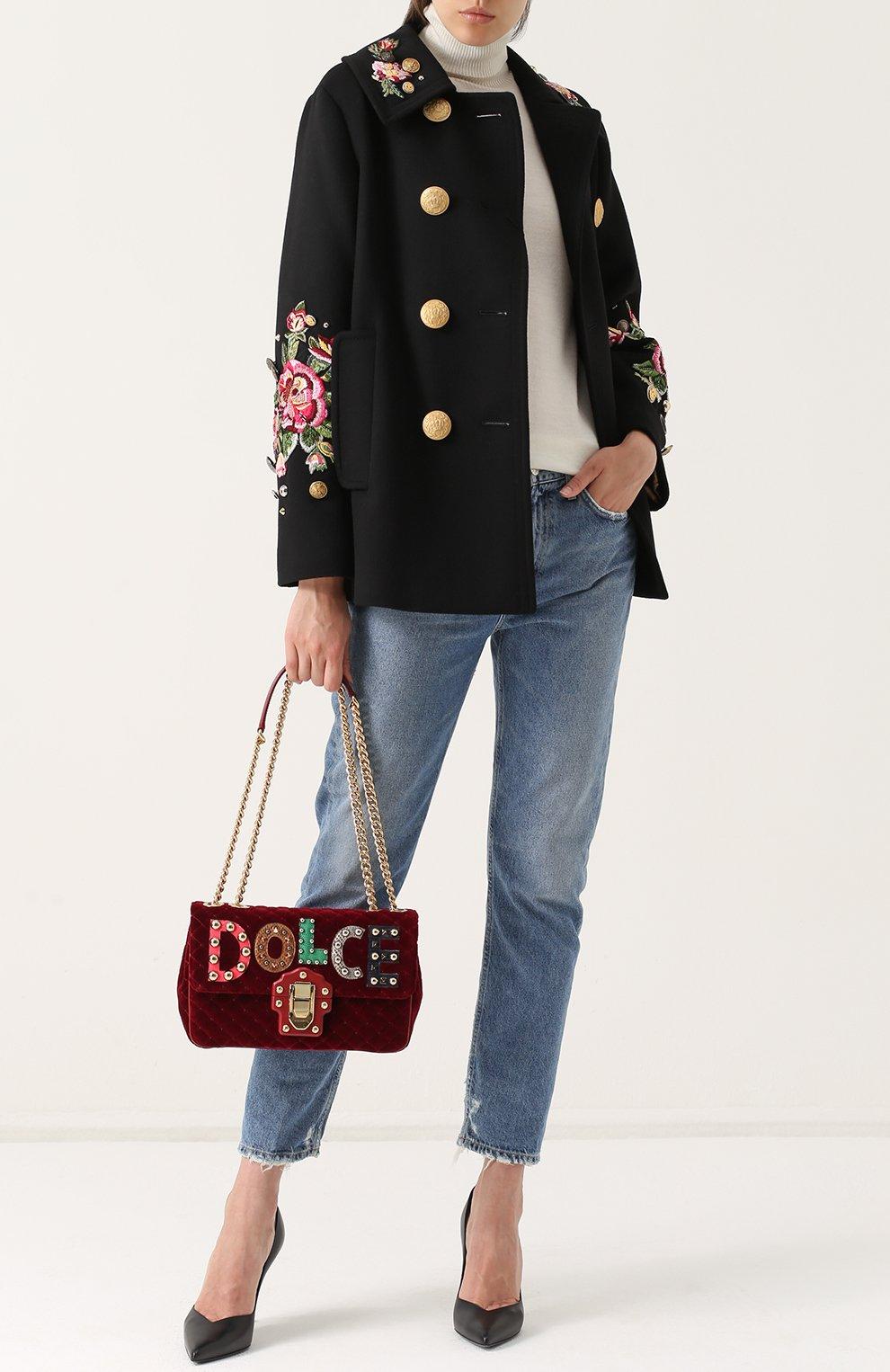 Укороченная пальто с контрастными пуговицами и вышивкой Dolce & Gabbana черного цвета | Фото №2
