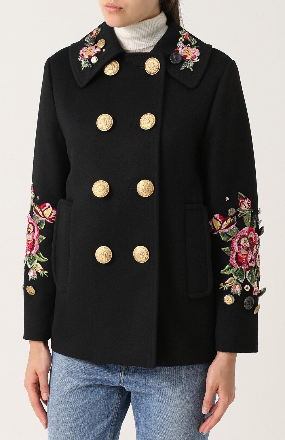 Укороченная пальто с контрастными пуговицами и вышивкой Dolce & Gabbana черного цвета | Фото №3