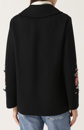 Укороченная пальто с контрастными пуговицами и вышивкой Dolce & Gabbana черного цвета | Фото №4