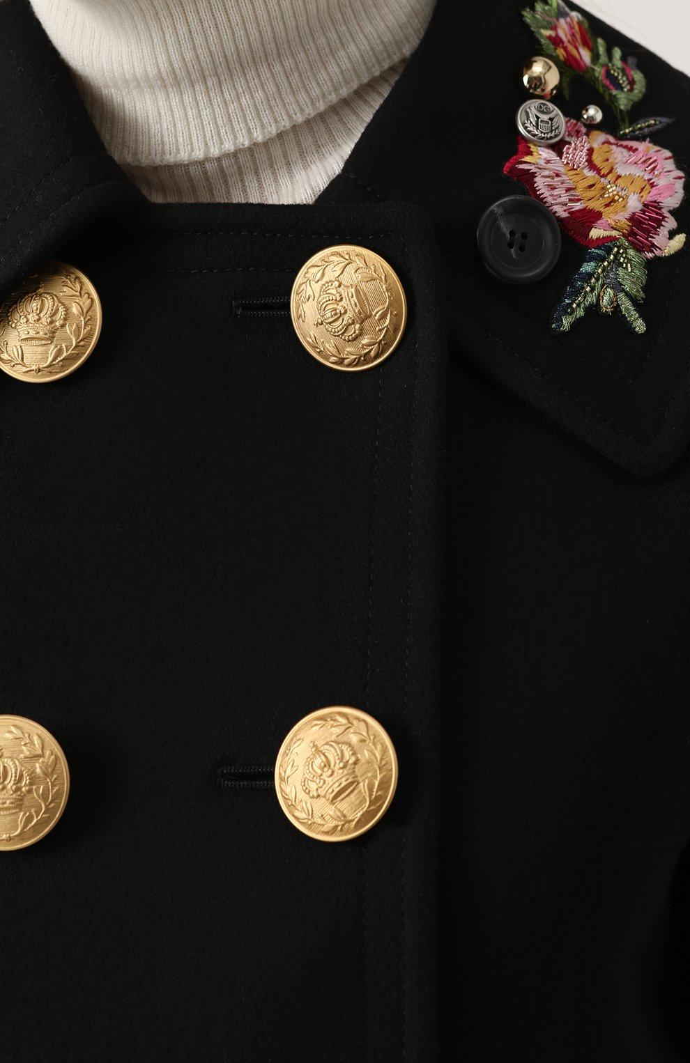 Укороченная пальто с контрастными пуговицами и вышивкой Dolce & Gabbana черного цвета | Фото №5