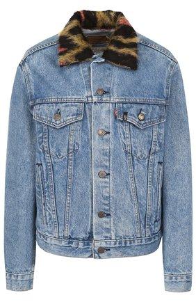 Джинсовая куртка с потертостями и декорированным воротником | Фото №1