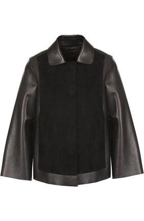 Кожаная куртка свободного кроя с замшевой отделкой | Фото №1