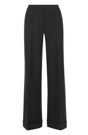 Шерстяные расклешенные брюки с контрастной прострочкой Dolce & Gabbana черные | Фото №1