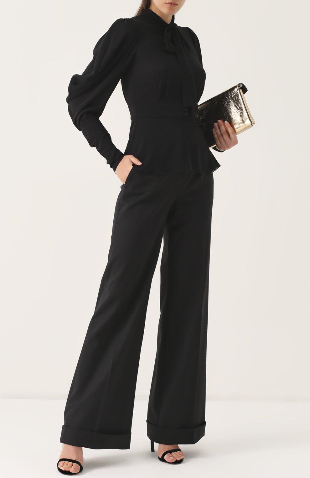 Шерстяные расклешенные брюки с контрастной прострочкой Dolce & Gabbana черные | Фото №2