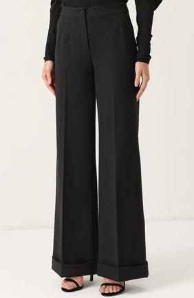 Шерстяные расклешенные брюки с контрастной прострочкой Dolce & Gabbana черные | Фото №3