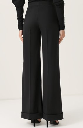 Шерстяные расклешенные брюки с контрастной прострочкой Dolce & Gabbana черные | Фото №4