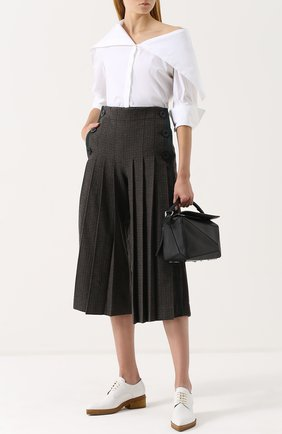 Укороченные широкие брюки со складками Sacai хаки | Фото №1