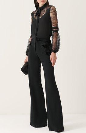 Расклешенные брюки с декоративной отделкой Elie Saab черные | Фото №1