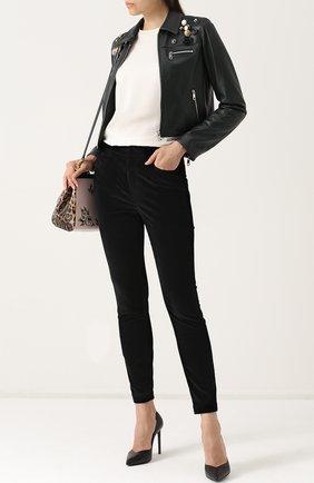 Вельветовые брюки-скинни Dolce & Gabbana черные | Фото №2