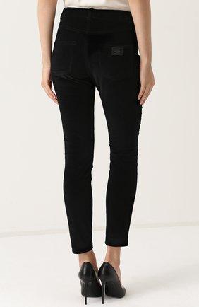 Вельветовые брюки-скинни Dolce & Gabbana черные | Фото №4