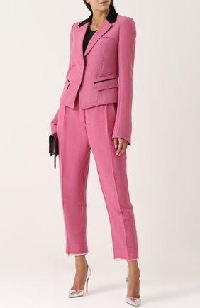 Укороченные брюки-бананы с широким поясом Haider Ackermann розовые | Фото №1