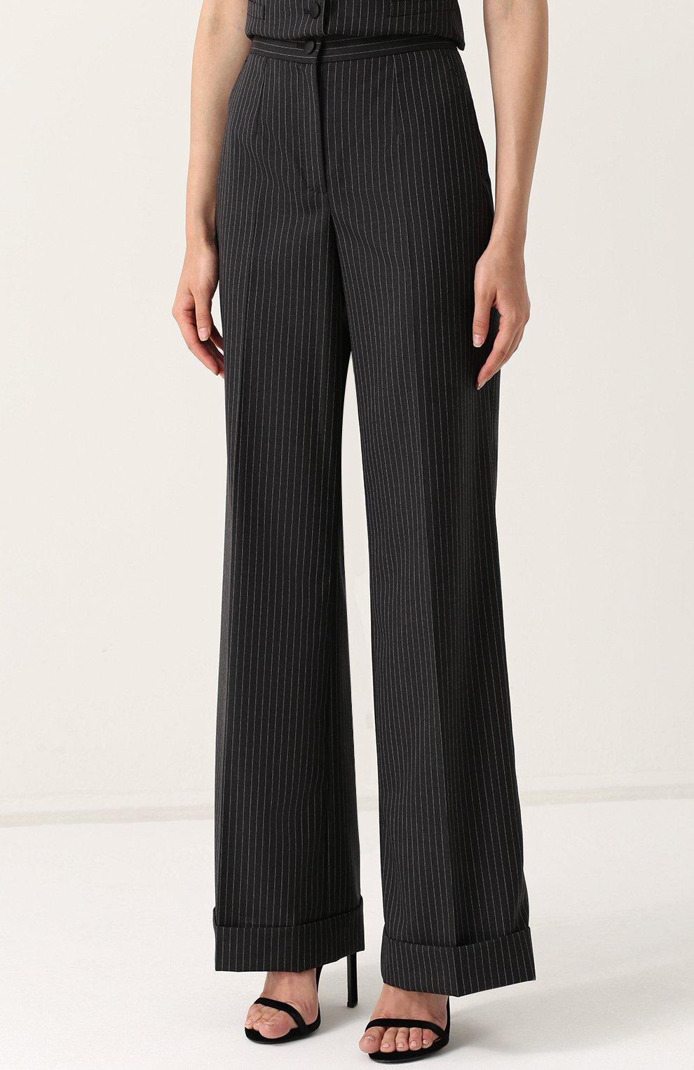Расклешенные брюки со стрелками и карманами Dolce & Gabbana серые   Фото №3