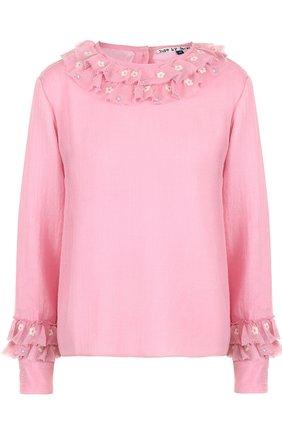 Шерстяная блуза с длинным рукавом и оборками | Фото №1