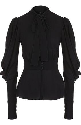 Приталенная блуза с воротником аскот Dolce & Gabbana черная | Фото №1