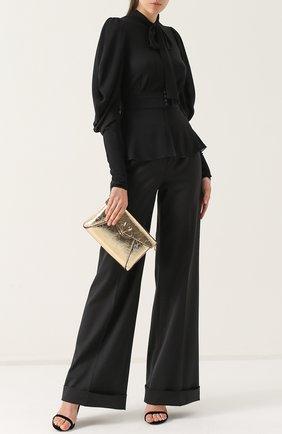 Приталенная блуза с воротником аскот Dolce & Gabbana черная | Фото №2