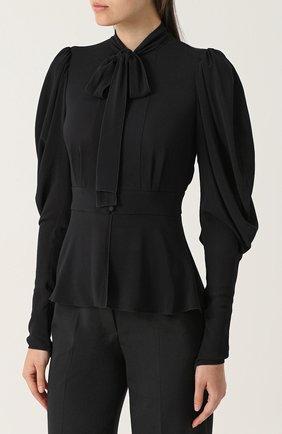 Приталенная блуза с воротником аскот Dolce & Gabbana черная | Фото №3