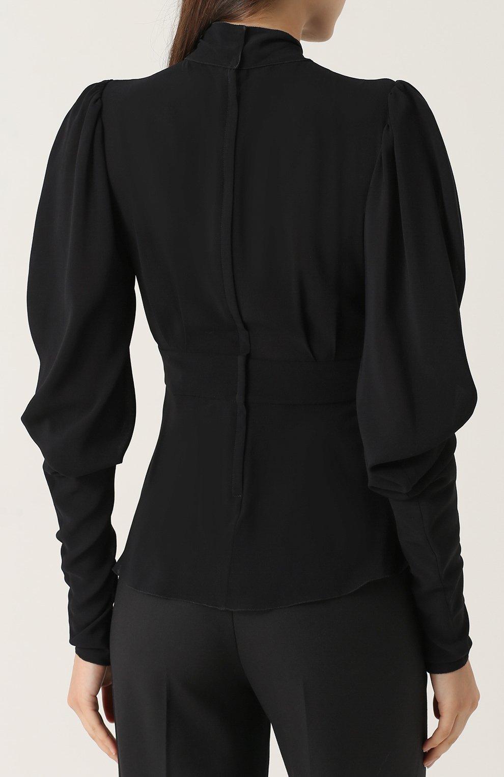 Приталенная блуза с воротником аскот Dolce & Gabbana черная | Фото №4