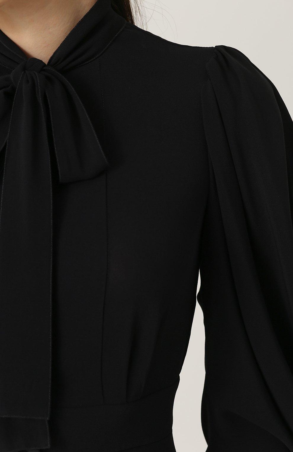 Приталенная блуза с воротником аскот Dolce & Gabbana черная | Фото №5