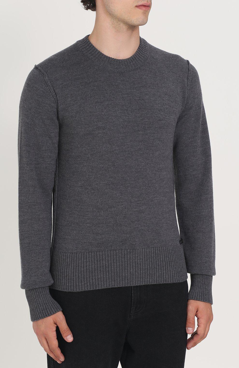 Шерстяной однотонный джемпер Dolce & Gabbana серый | Фото №3
