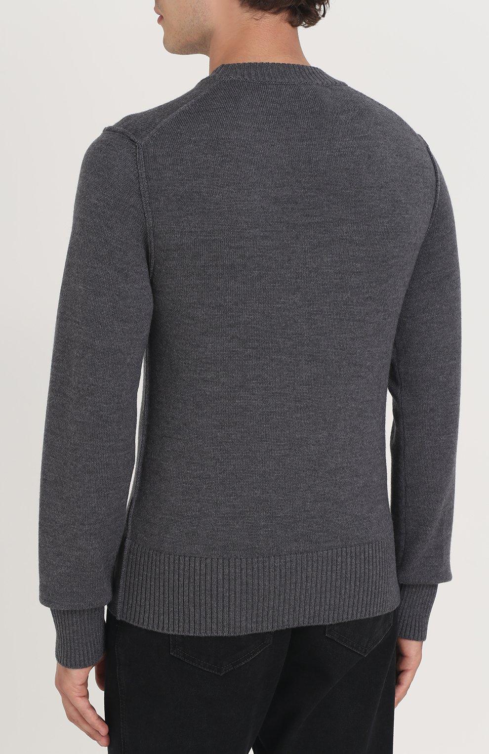 Шерстяной однотонный джемпер Dolce & Gabbana серый | Фото №4